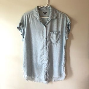 Aerie Light Denim Tunic Button Down Shirt Medium